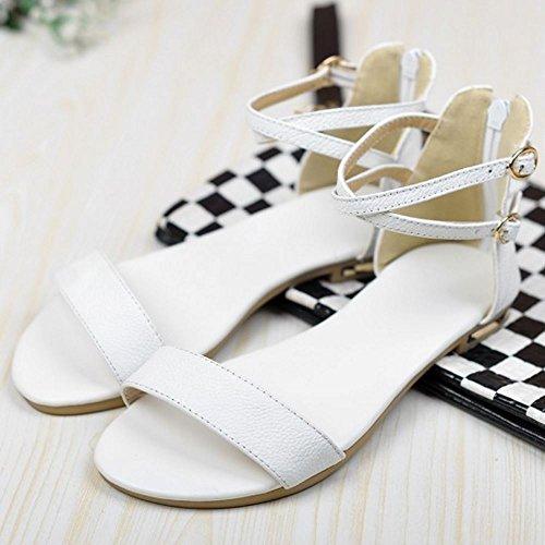 COOLCEPT Mujer Moda Correa de Tobillo Sandalias Punta Abierta Plano Zapatos con Cremallera Blanco