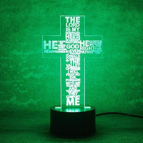 Jinnwell 3D Jesus God Cross Night Light Lamp Illusion Animal Night Light 7 Color Changing Touch Switch Table Desk Decoration Lamps Perfect Christmas Gift with Acrylic Flat ABS Base USB Cable Toy - Lions Glass Night Light