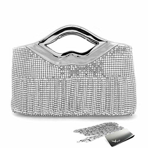[Missy K Metal Mesh Clutch Purse, with Grip Handle, Silver, + kilofly Money Clip] (Metal Mesh Bag)