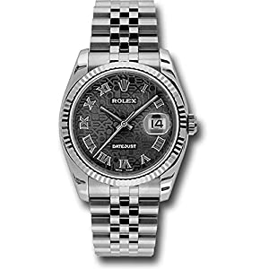 Rolex Oyster Perpetual Datejust 36mm Stainless Steel Case, 18K White Gold Fluted Bezel, Black Jubilee Dial, Roman Numeral And Jubilee Bracelet.