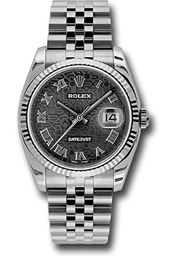 (Rolex Oyster Perpetual Datejust 36mm Stainless Steel Case, 18K White Gold Fluted Bezel, Black Jubilee Dial, Roman Numeral And Jubilee Bracelet.)