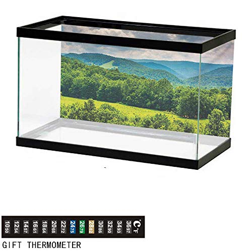 wwwhsl Aquarium Background,Landscape,View of Mountains in Potomac Highlands of West Virginia Rural Scenery Picture,Forest Green Fish Tank Backdrop 36