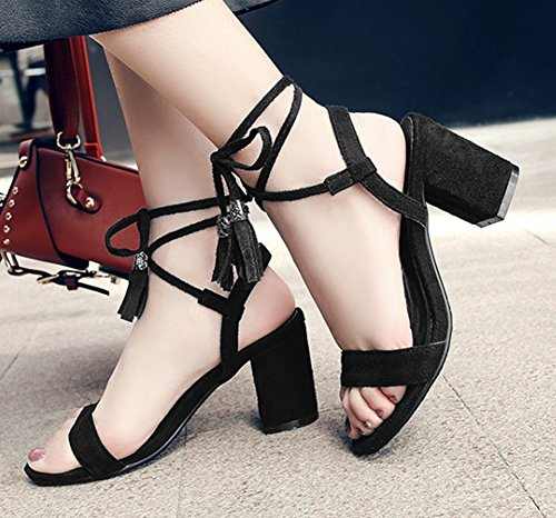 Blocked Fringed Heels Tie Toe Open Sandals The Stylish Ankle Shoes Self Black Womens Top Dress Mid Wrap Across Aisun BwPqnO1Ax