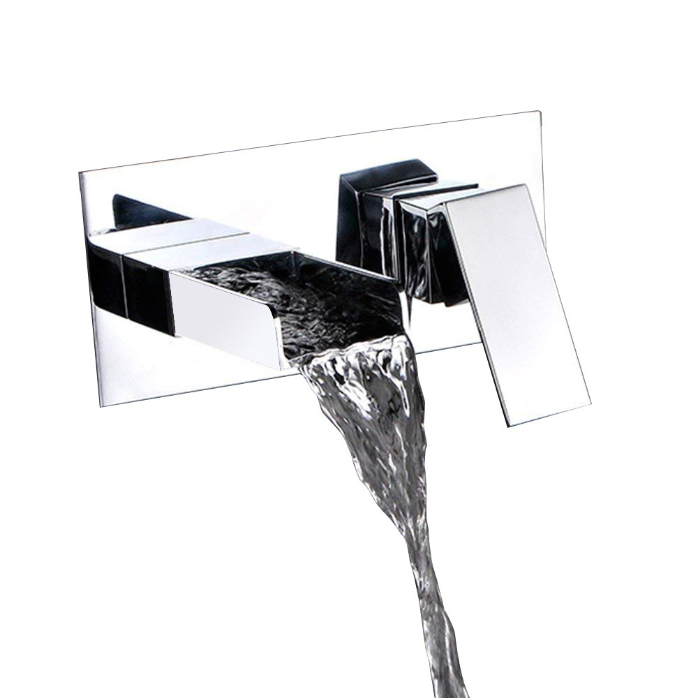 KunMai Modern Waterfall Square Wall Mount Bathroom Sink Faucet with ...