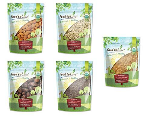 Organic Almonds, Organic Chia Seeds, Organic Hemp Seeds, Organic Golden Flax Seeds, Organic Dates