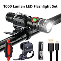 1000 Lumen Bike Light USB Rechargeable Stepless dimming FREE Taillight INCLUDED Mount Cycle Torch Easy Install & Quick Release Fits ALL Bikes Mountain Hybrid Road MTB