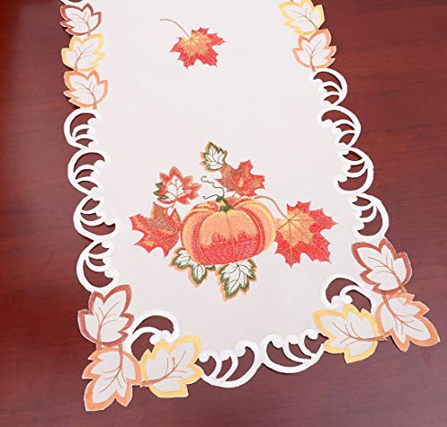 Simhomsen Thanksgiving Harvest Pumpkins Table Runners for Autumn Or Fall Decorations (14 × 90 Inch) by Simhomsen (Image #2)