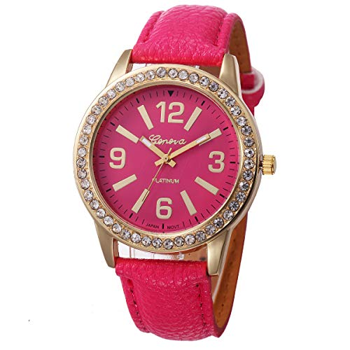 Outsta Women's Geneva Watches Stainless Steel Analog Leather Quartz Wrist Watch Best Gift (Hot Pink) ()