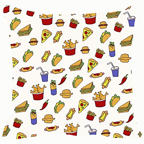 Doodle Fast Food and Drink Home Decorative Throw Pillow Case Cushion Cover for Gift Home Couch Bed Car 18