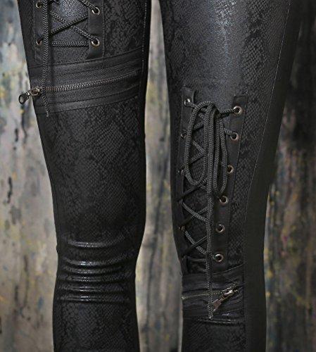 In Nero Pelle Pantalone Pentagramme Sintetica Con A Lacci Pantaloni FqW7Oang1