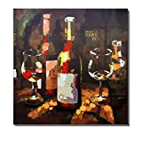 wine art - 3Hdeko-Still Life Wine and Wine Glass Print painting Brown Artwork For Office Walls,Ready To Hang (30x30Inch)