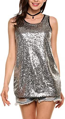 Zeagoo Women's Camisole Shimmer Sequined Double Side Slit Loose Fit Sparkle Tank Top Vest Top