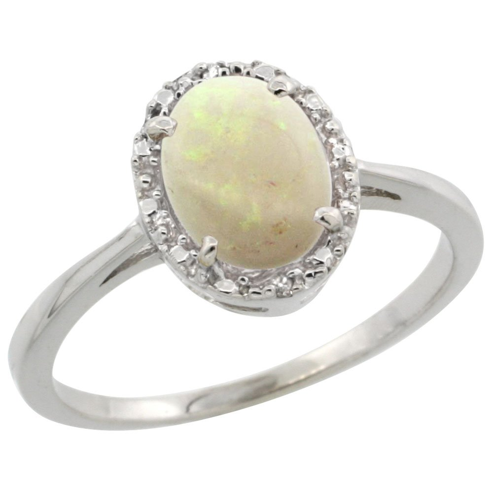 14K White Gold Natural Opal Ring Oval 8x6 mm Diamond Halo, size 10