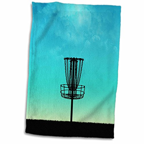3D Rose Disc Golf Silhouette Basket On Grass with Blue Sky Hand Towel, 15