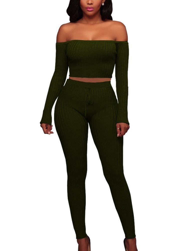 Misfondle Women's Sexy 2 Piece Bodycon Off Shoulder Long Sleeve Ribbed Skinny Jumpsuit Green, Large