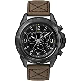 Men's Outdoor Watch | Rugged Leather Strap Black Dial | Timex Expedition T49986