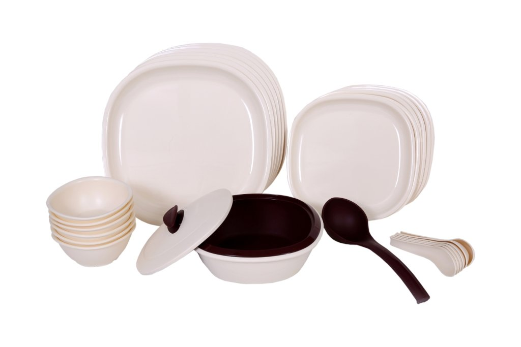 Signoraware Double Wall Square Dinner Set, 27-Pieces, Off White/Maroon