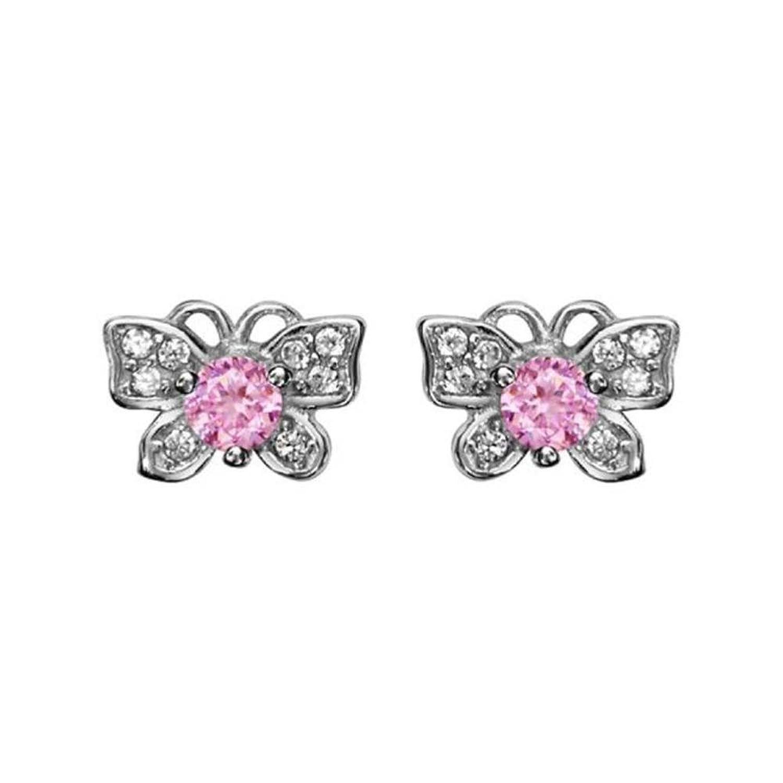 Pendientes de plata 925mariposa con circonio y piedra rosa