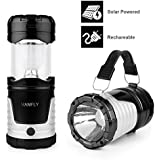 Camping Lantern Solar Rechargeable Collapsible LED Camping Light & Handheld Flashlight in the Bottom for Hiking Camping Fishing Hurricanes Outages Emergency Charging for Mobilephone