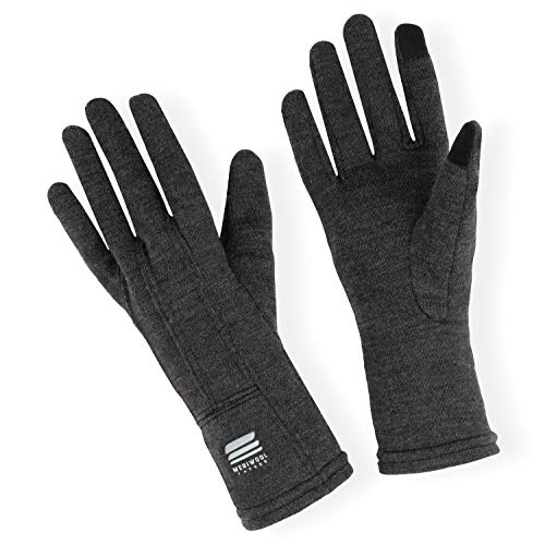 MERIWOOL Merino Wool Unisex Glove Liners for use with Touch Screens in Charcoal Grey - Large