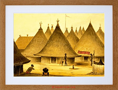 PAINTING LANDSCAPE AFRICAN NATIVE VILLAGE HUTS FRAMED PRINT - African Huts Pictures