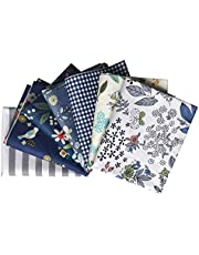 Gnognauq 7 Pieces Floral Checked and Striped Quilting Fabric Fat Quarters Fabric Bundles 18x22 inch for Quilting Sewing and Crafting