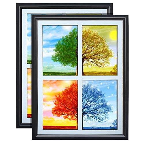 PETAFLOP 5x7 Picture Frames Collage 4 Openings Photo Collage Frames for Walls White Matted with Plexiglass Covering, Set of 2
