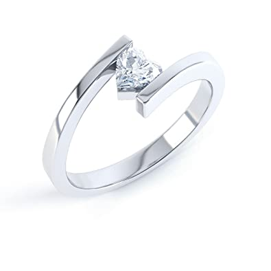Ruby Heart Stackable Silver Crossover Ring hwCGY7F