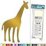 Graphics and More Giraffe - Cute Animal Africa Safari Kids Baby Room Nursery - Vinyl Sticker Decal Wall Art Decor - Metallic-Gold