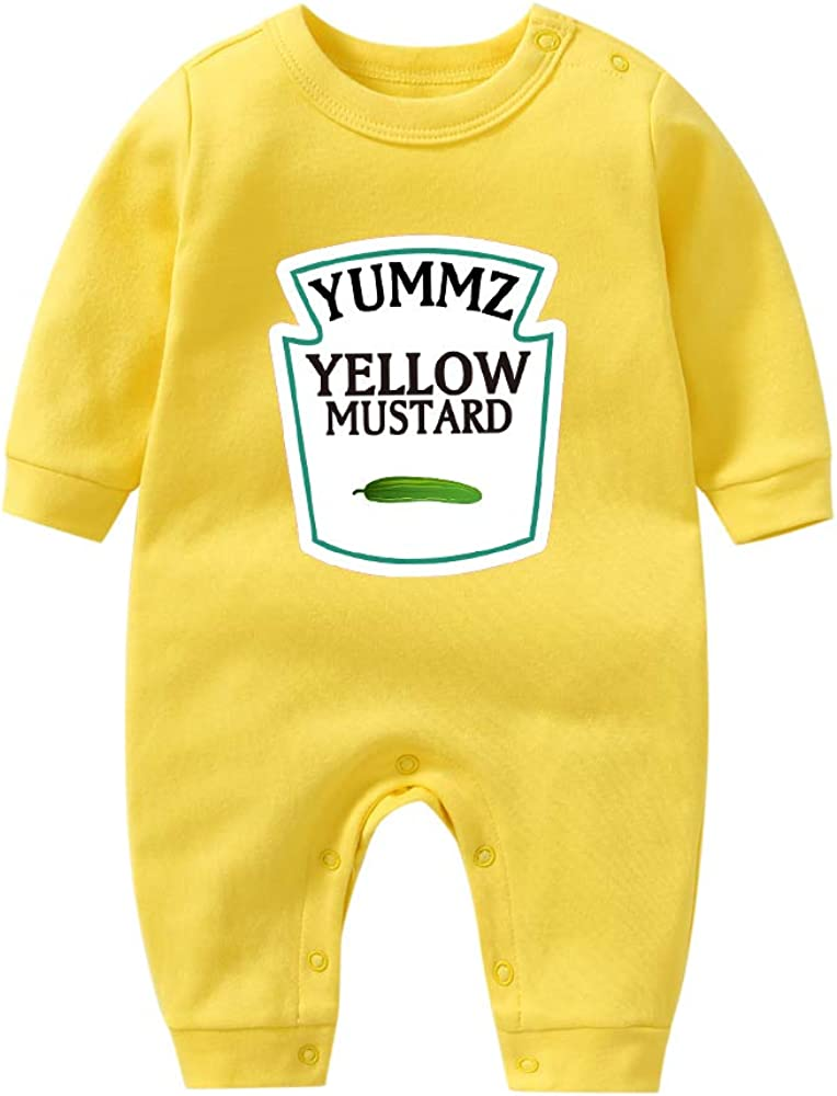 YSCULBUTOL Baby Ketchup Mustard Newborn Tomato Outfit BabyTwins Bodysuit Foodie Gift Set