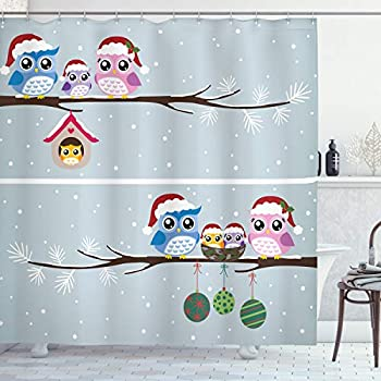 Ambesonne Christmas Shower Curtain, Owl Family with Santa Hats on Tree Branch with Babies in Nest Birds Snowy Winter Print, Cloth Fabric Bathroom Decor Set with Hooks, 70