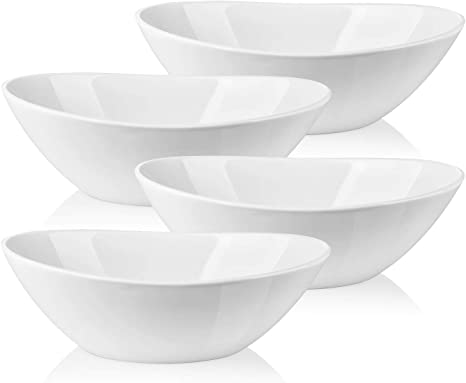 Lifver Serving Bowls 36 Ounces Large Cereal Bowls Porcelain Salad Bowls Set For Salad Cereal Dessert Set Of 4 White Dishwasher Microwave Safe Serving Bowls