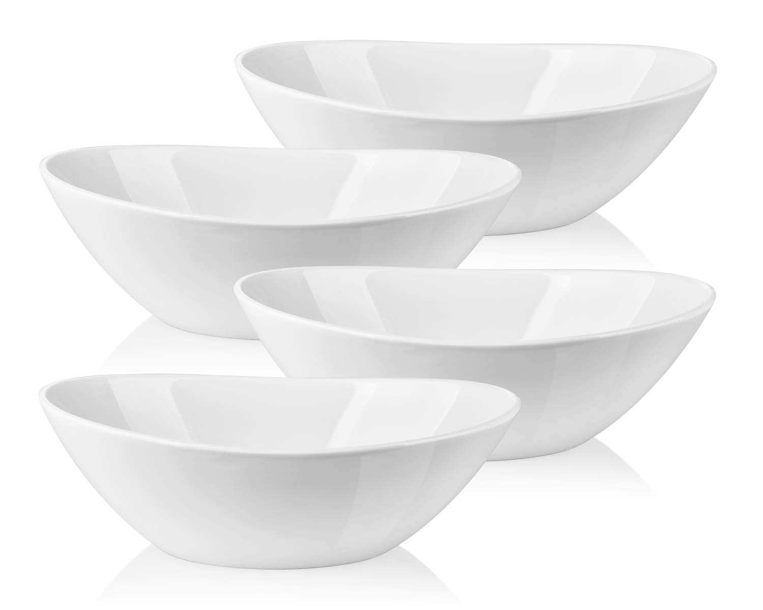 LIFVER 1.1 Quart Porcelain Serving Bowls for Salad, Side dishes, Soup, Dessert, Set of 4, White by LIFVER