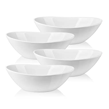 Lifver 1.1-quart/36-oz Porcelain Serving Bowls for Salad/Side dishes/Soup/Dessert, Set of 4, White