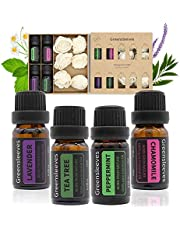 Essential Oils Set, 100% Pure Aromatherapy Essential Oil Gift Kits Lavender, Chamomile, Peppermint, Tea Tree for Aroma Diffuser Humidifier, 4 x 10ml