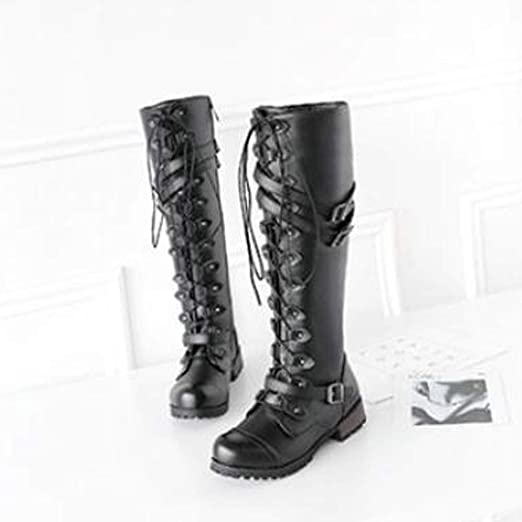 Amazon.com: Knee High Boots For Women Low Heel Liraly Ladies Steampunk Gothic Vintage Style Retro Punk Buckle Military Combat Boots: Clothing