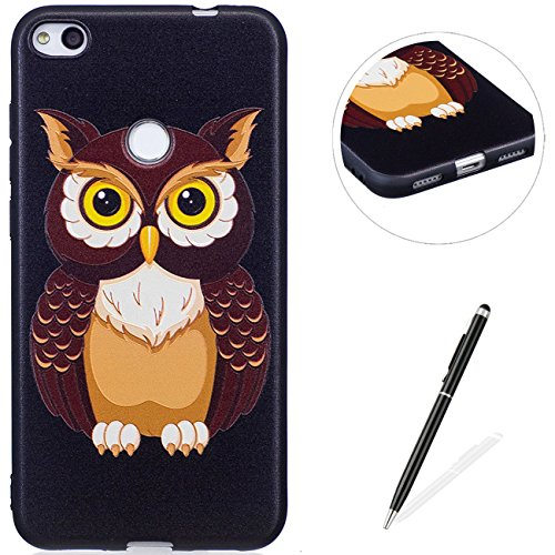MAGQI Huawei P8 Lite 2017 Case,Anti-Scratch Shock-Absorption Shockproof Durable Gel TPU Cover Animal 3D Cartoon Pattern Rubber Bumper Shell Premium Silicone Skin Drop Protection - Owl ()