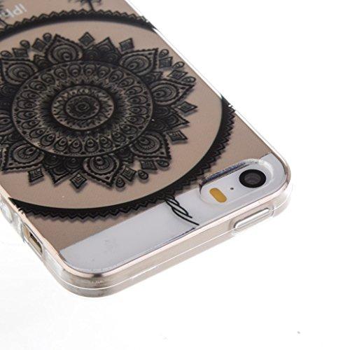 ZXLZKQ Coque pour iPhone 5C Etui Ultra Mince Noir Dreamcatcher Plume Souple TPU 3D Silicone Housse Case Coque pour Apple iPhone 5C (Non compatible iPhone 5)