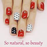 False Nails Short for Girls Red Nails 24 Pieces