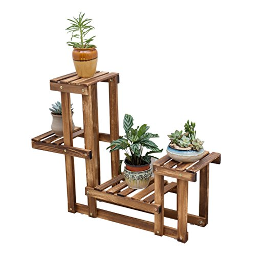 Folding Wooden Carbon Baking Flower Stand Multi - Floor Floor Flower Stand Bonsai Flower Shelf Balcony Living Room Interior by LITINGMEI Flower rack
