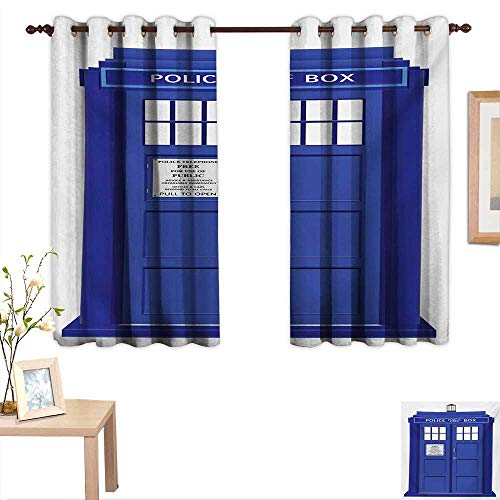 BlountDecor Police Waterproof Window Curtain Doctors Blue House British Landmark Phone Box Police Call Image Artwork Print 63