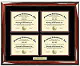 Engraved Four Certificate Frame 4 Professional Certification or College Document Plaque Holder Quad University Diploma Degree