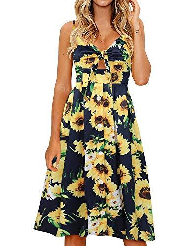 FANCYINN Womens Sunflower Swing A-Line Dress Floral Prints Tie Front Button Down Spaghetti Strap Midi Dress Sunflower Blue - Bow Front Womens Dress