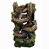 Sunnydaze 5-Tiered Woodland Outdoor Garden Fountain with LED Lights, 25 Inch Tall