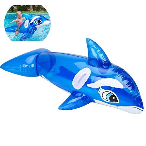 HeySplash Flotador de Piscina Gigante Hinchable para Piscina, balancín Flotante para niños y Adultos, Ballena Azul