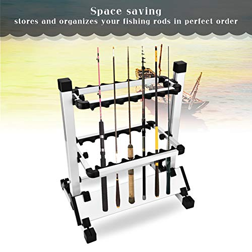 Yosooo Fishing Rod Rack, Portable Aluminum Fishing Rod Pole Stand Display Holder Organizer Storage-Hold 12 Rods