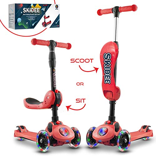 Scooter For Kids with Folding Seat – 2019 NEW 2-in-1 Adjustable 3 Wheel Kick Scooter for Toddlers Girls & Boys – Fun Outdoor Toys for Kids Fitness