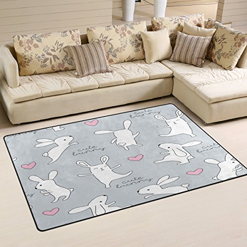 ALAZA Bunny Rabbit Animal Area Rug Rugs Carpet for Living Room Bedroom 60 x 39 inches (Area Bunny Rugs Rabbit)