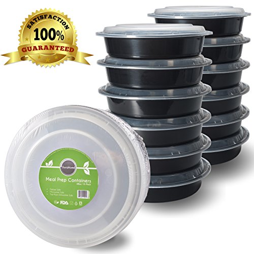 durahome xl meal prep containers with lids 48oz 9 xl round microwaveable black plastic. Black Bedroom Furniture Sets. Home Design Ideas