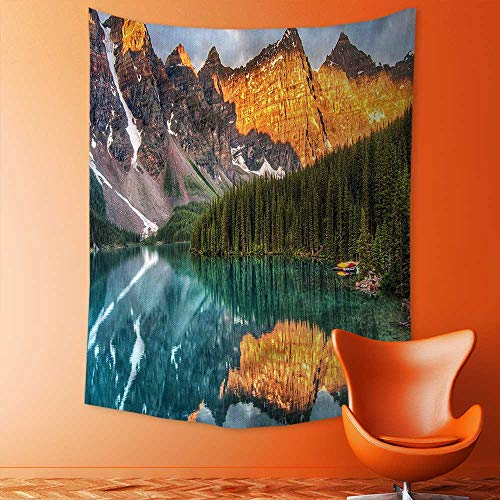 - aolankaili Decorate Tapestry Wall Hanging,Lake Canadian Mountain Range with Creek Pine Forest Mother Earth Scenery Multicolor Bedroom Living Room Dorm Tapestries